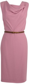 Satin Crepe Cowl Neck Belt Dress - style: shift; neckline: cowl/draped neck; pattern: plain; sleeve style: sleeveless; waist detail: belted waist/tie at waist/drawstring; bust detail: ruching/gathering/draping/layers/pintuck pleats at bust; predominant colour: pink; occasions: casual, evening, work, occasion; length: just above the knee; fit: body skimming; fibres: silk - mix; sleeve length: sleeveless; texture group: structured shiny - satin/tafetta/silk etc.; pattern type: fabric
