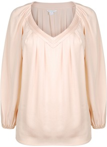 Silk Cahil Long Sleeve Top - neckline: low v-neck; pattern: plain; length: below the bottom; sleeve style: balloon; style: blouse; predominant colour: nude; occasions: casual, evening, work; fibres: silk - mix; fit: straight cut; shoulder detail: flat/draping pleats/ruching/gathering at shoulder; sleeve length: long sleeve; texture group: silky - light; bust detail: tiers/frills/bulky drapes/pleats; pattern type: fabric; pattern size: standard