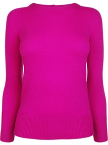 Cashmere Zip Back Jumper - style: standard; predominant colour: hot pink; occasions: casual, evening, work; length: standard; fibres: wool - mix; fit: standard fit; neckline: crew; sleeve length: long sleeve; sleeve style: standard; texture group: knits/crochet; trends: fluorescent; pattern type: knitted - fine stitch; pattern size: standard