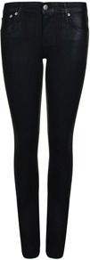 Resin Skinny Jeans - style: skinny leg; length: standard; pattern: plain; pocket detail: traditional 5 pocket; waist: mid/regular rise; predominant colour: black; occasions: casual, evening, work; fibres: cotton - mix; jeans detail: dark wash; texture group: denim; pattern type: fabric; pattern size: standard
