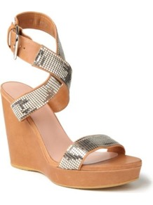 Metalmania Leather Wedge Sandals - predominant colour: camel; secondary colour: silver; occasions: casual, evening, holiday; material: leather; heel height: high; ankle detail: ankle strap; heel: wedge; toe: open toe/peeptoe; style: standard; finish: plain; pattern: plain; embellishment: chain/metal
