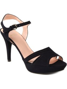 Chandelle Suede Platform Sandals - predominant colour: black; occasions: casual, evening, work, occasion, holiday; material: suede; heel height: high; embellishment: buckles; ankle detail: ankle strap; heel: platform; toe: open toe/peeptoe; style: standard; finish: plain; pattern: plain