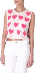 Baby Love Cropped Top - neckline: round neck; sleeve style: sleeveless; length: cropped; bust detail: pocket detail at bust; predominant colour: blush; occasions: casual; style: top; fibres: cotton - 100%; fit: body skimming; sleeve length: sleeveless; texture group: cotton feel fabrics; pattern type: fabric; pattern size: small & busy; pattern: patterned/print