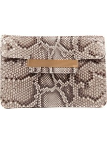 Python Clutch - predominant colour: taupe; occasions: evening, occasion; type of pattern: large; style: clutch; length: hand carry; size: standard; material: animal skin; pattern: animal print; finish: plain; embellishment: chain/metal