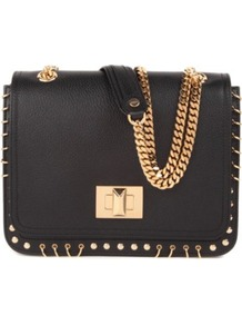 Marquise Shoulder Bag - predominant colour: black; occasions: casual, evening, occasion; type of pattern: small; style: shoulder; length: shoulder (tucks under arm); size: small; material: leather; pattern: plain; trends: metallics; finish: plain; embellishment: chain/metal