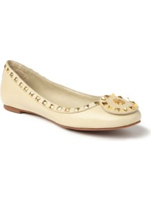 Dale Studded Leather Pumps - predominant colour: ivory; occasions: casual, work; material: leather; heel height: flat; embellishment: studs; toe: round toe; style: ballerinas / pumps; finish: plain; pattern: plain