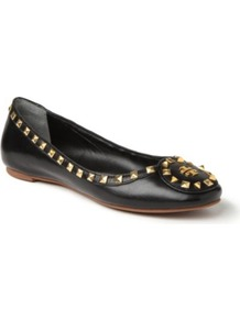Dale Studded Leather Pumps - predominant colour: black; occasions: casual, evening, work; material: leather; heel height: flat; embellishment: studs; toe: round toe; style: ballerinas / pumps; finish: plain; pattern: plain