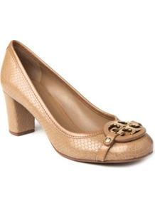 Aaden Mock Croc Courts - predominant colour: camel; occasions: evening, work; material: leather; heel height: mid; embellishment: buckles; heel: block; toe: round toe; style: courts; finish: plain; pattern: animal print