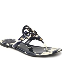 Miller Patent Leather Sandals - predominant colour: navy; occasions: casual, holiday; material: leather; heel height: flat; embellishment: buckles; heel: standard; toe: toe thongs; style: flip flops / toe post; finish: patent; pattern: animal print