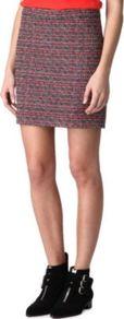 Miranda Tweed Skirt - length: mid thigh; style: straight; fit: tailored/fitted; hip detail: fitted at hip; pattern: herringbone/tweed; waist: mid/regular rise; predominant colour: true red; occasions: casual, evening, work; fibres: cotton - mix; pattern type: fabric; pattern size: standard; texture group: tweed - light/midweight