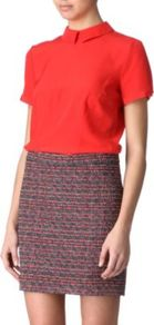 Bowery Top - pattern: plain; predominant colour: bright orange; occasions: casual, evening, work; length: standard; style: top; fibres: silk - 100%; fit: body skimming; neckline: no opening/shirt collar/peter pan; sleeve length: short sleeve; sleeve style: standard; texture group: crepes; trends: fluorescent; pattern type: fabric; pattern size: standard