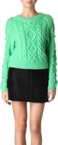 Blake Jumper - neckline: round neck; style: standard; pattern: cable knit; predominant colour: mint green; occasions: casual, work; length: standard; fibres: cotton - mix; fit: standard fit; sleeve length: long sleeve; sleeve style: standard; texture group: knits/crochet; pattern type: knitted - other; pattern size: standard