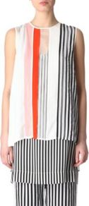 Extra Top - pattern: vertical stripes; sleeve style: sleeveless; length: below the bottom; predominant colour: white; occasions: casual, evening, work; style: top; fibres: silk - 100%; fit: loose; neckline: crew; sleeve length: sleeveless; texture group: sheer fabrics/chiffon/organza etc.; trends: striking stripes; pattern type: fabric; pattern size: small &amp; busy