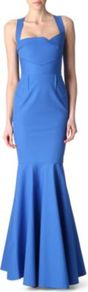 Lunenburg Gown - fit: tailored/fitted; pattern: plain; sleeve style: sleeveless; waist detail: fitted waist; neckline: sweetheart; back detail: low cut/open back; predominant colour: diva blue; occasions: evening, occasion; length: floor length; fibres: cotton - mix; style: fishtail; sleeve length: sleeveless; texture group: cotton feel fabrics; pattern type: fabric
