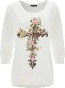 Floral Cross Sweatshirt Cream - neckline: round neck; bust detail: added detail/embellishment at bust; style: sweat top; predominant colour: ivory; occasions: casual, work; length: standard; fibres: cotton - mix; fit: body skimming; sleeve length: 3/4 length; sleeve style: standard; pattern type: fabric; pattern size: small &amp; light; pattern: patterned/print; texture group: jersey - stretchy/drapey