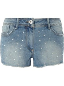 G21 Jewel Stud Shorts Navy - style: shorts; pocket detail: traditional 5 pocket; length: short shorts; waist: mid/regular rise; predominant colour: denim; occasions: casual, holiday; fibres: cotton - 100%; hip detail: fitted at hip (bottoms); waist detail: narrow waistband; texture group: denim; fit: slim leg; pattern type: fabric; pattern size: small &amp; light; embellishment: beading