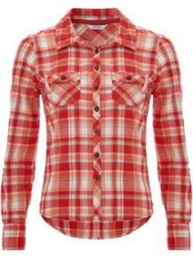 Casual Check Shirt Orange - neckline: shirt collar/peter pan/zip with opening; pattern: checked/gingham; style: shirt; bust detail: pocket detail at bust; predominant colour: bright orange; occasions: casual; length: standard; fibres: cotton - 100%; fit: body skimming; sleeve length: long sleeve; sleeve style: standard; texture group: cotton feel fabrics; pattern type: fabric; pattern size: standard