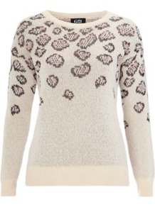 G21 Animal Jumper Cream - style: standard; shoulder detail: contrast pattern/fabric at shoulder; predominant colour: ivory; occasions: casual, work; length: standard; fibres: cotton - mix; fit: standard fit; neckline: crew; sleeve length: long sleeve; sleeve style: standard; texture group: knits/crochet; pattern type: fabric; pattern size: standard; pattern: animal print