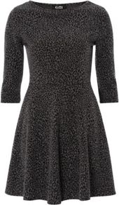 G21 Animal Fit And Flare Dress Charcoal - length: mid thigh; waist detail: fitted waist; predominant colour: charcoal; occasions: casual, evening; fit: fitted at waist &amp; bust; style: fit &amp; flare; fibres: polyester/polyamide - stretch; neckline: crew; sleeve length: 3/4 length; sleeve style: standard; texture group: knits/crochet; pattern: animal print