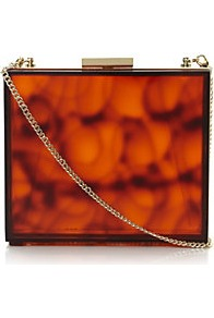 Epic Tortoise Shell Perspex Clutch Bag - predominant colour: chocolate brown; occasions: casual, evening, occasion; type of pattern: standard; style: clutch; length: hand carry; size: small; material: plastic/rubber; finish: plain; pattern: tortoiseshell; embellishment: chain/metal