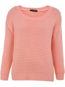 Peach Crop Garter Stitch Jumper - neckline: round neck; style: standard; predominant colour: coral; occasions: casual, work; length: standard; fibres: acrylic - 100%; fit: standard fit; sleeve length: long sleeve; sleeve style: standard; texture group: knits/crochet; pattern type: knitted - other