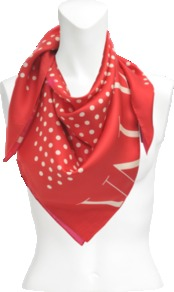 Polka Dots Silk Twill Scarf - predominant colour: true red; occasions: casual, evening, work, occasion, holiday; type of pattern: standard; style: square; size: large; material: silk; pattern: polka dot; trends: statement prints