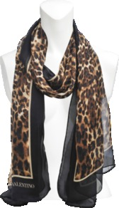 Satin Chiffon Animal Scarf - predominant colour: black; occasions: casual, evening, work, occasion; type of pattern: heavy; style: skinny; size: standard; material: silk; pattern: animal print; trends: statement prints