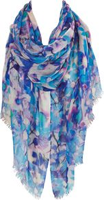 Milan Print Wrap, Multi Coloured - predominant colour: royal blue; occasions: casual, evening, work, occasion, holiday; type of pattern: heavy; style: square; size: large; material: fabric; pattern: florals; trends: high impact florals, statement prints