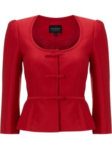Women's Fortuna Jacket, Ruby - pattern: plain; style: single breasted blazer; collar: round collar/collarless; predominant colour: true red; occasions: evening, work, occasion; length: standard; fit: tailored/fitted; fibres: wool - mix; waist detail: peplum detail at waist; sleeve length: 3/4 length; sleeve style: standard; collar break: medium; pattern type: fabric; texture group: woven light midweight