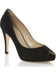 Leila Peep Toe Court, Black - predominant colour: black; occasions: evening, work, occasion; material: suede; heel height: high; heel: platform; toe: open toe/peeptoe; style: courts; finish: plain; pattern: plain