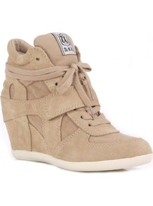 Cool Wedge Hi Top Trainer Shoes, Chamois - predominant colour: stone; occasions: casual; material: suede; heel height: high; heel: wedge; toe: round toe; boot length: ankle boot; style: high top; trends: sporty redux; finish: plain; pattern: plain
