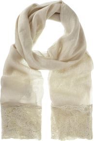 Lichen Lace Gauzy Scarf, Green - predominant colour: stone; occasions: casual, evening, work, occasion; type of pattern: light; style: regular; size: standard; embellishment: embroidered; pattern: plain; material: tulle/sheer