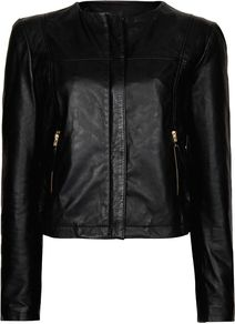 Women&#x27;s Stitched Leather Jacket, Black - pattern: plain; style: biker; collar: high neck; predominant colour: black; occasions: casual, evening; length: standard; fit: straight cut (boxy); fibres: leather - 100%; sleeve length: long sleeve; sleeve style: standard; texture group: leather; collar break: high/illusion of break when open; pattern type: fabric; pattern size: standard