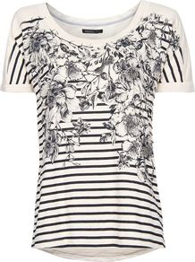 Women's Flowers And Striped T Shirt, Neutral - neckline: round neck; pattern: horizontal stripes; style: t-shirt; predominant colour: white; occasions: casual; length: standard; fibres: cotton - 100%; fit: straight cut; bust detail: contrast pattern/fabric/detail at bust; sleeve length: short sleeve; sleeve style: standard; pattern type: fabric; pattern size: standard; texture group: jersey - stretchy/drapey
