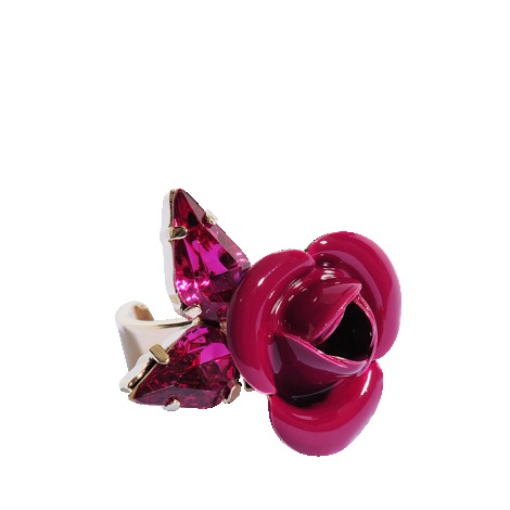 Tortesoishell And Rhinestone Ring - predominant colour: hot pink; occasions: evening, occasion, holiday; style: cocktail; size: large/oversized; material: chain/metal; finish: patent; embellishment: jewels/stone; season: s/s 2013