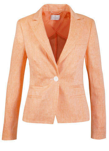 Linen Blazer - pattern: plain; style: single breasted blazer; collar: standard lapel/rever collar; predominant colour: coral; occasions: casual, evening, work, occasion; length: standard; fit: tailored/fitted; fibres: linen - 100%; waist detail: fitted waist; sleeve length: long sleeve; sleeve style: standard; texture group: linen; collar break: medium; pattern type: fabric; pattern size: standard; season: s/s 2013