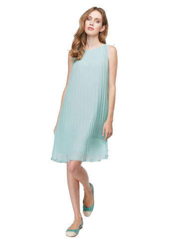 Pleated Dress - style: smock; fit: loose; pattern: plain; sleeve style: sleeveless; predominant colour: pale blue; occasions: evening, occasion; length: just above the knee; fibres: polyester/polyamide - 100%; neckline: crew; sleeve length: sleeveless; texture group: sheer fabrics/chiffon/organza etc.; pattern type: fabric; season: s/s 2013