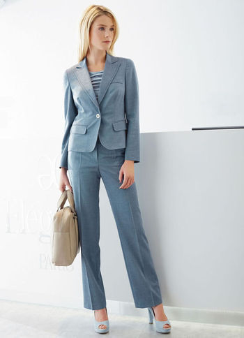 Trousers - length: standard; pattern: plain; pocket detail: small back pockets; waist detail: wide waistband/cummerbund; waist: high rise; predominant colour: denim; occasions: casual, evening, work; fibres: wool - mix; hip detail: fitted at hip (bottoms); fit: straight leg; pattern type: fabric; texture group: woven light midweight; style: standard; season: s/s 2013; pattern size: standard (bottom)