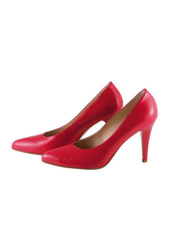 Heels - predominant colour: true red; occasions: evening, work, occasion; material: leather; heel height: high; heel: stiletto; toe: pointed toe; style: courts; finish: plain; pattern: plain; season: s/s 2013