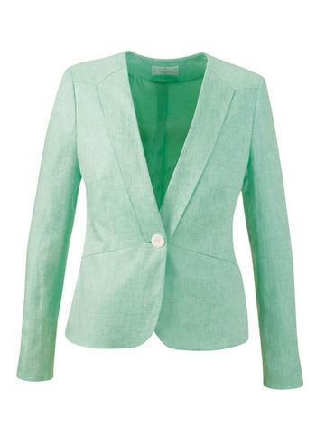 Linen Jacket - pattern: plain; style: single breasted blazer; collar: standard lapel/rever collar; predominant colour: mint green; length: standard; fit: tailored/fitted; fibres: linen - 100%; occasions: occasion; sleeve length: long sleeve; sleeve style: standard; texture group: linen; collar break: medium; pattern type: fabric; season: s/s 2013