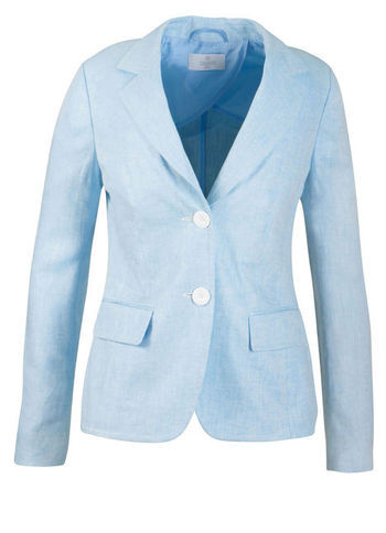 Linen Blazer - pattern: plain; style: single breasted blazer; collar: standard lapel/rever collar; predominant colour: pale blue; occasions: casual; length: standard; fit: tailored/fitted; fibres: linen - 100%; sleeve length: long sleeve; sleeve style: standard; texture group: linen; collar break: medium; pattern type: fabric; pattern size: standard; season: s/s 2013