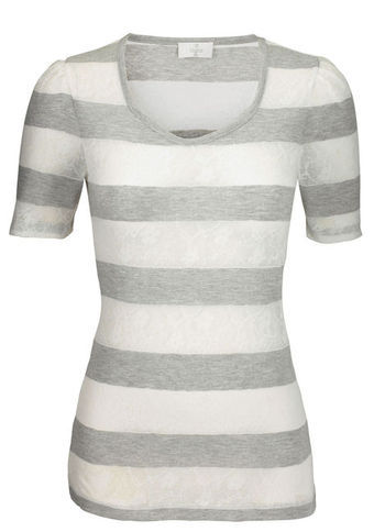 T Shirt - pattern: striped; style: t-shirt; predominant colour: white; occasions: casual; length: standard; neckline: scoop; fibres: polyester/polyamide - mix; fit: body skimming; sleeve length: short sleeve; sleeve style: standard; texture group: jersey - clingy; trends: striking stripes; pattern type: fabric; pattern size: standard; season: s/s 2013