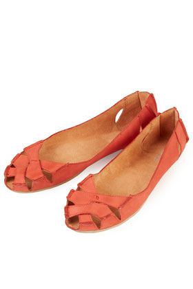 Haiti Peep Toe Cut Out Shoes - predominant colour: coral; occasions: casual, work, holiday; material: leather; heel height: flat; toe: open toe/peeptoe; style: ballerinas / pumps; finish: plain; pattern: plain; season: s/s 2013