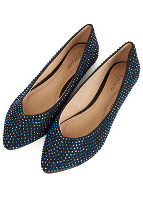 Mine Gem Stone Pointed Shoes - predominant colour: navy; occasions: casual, evening, work, holiday; material: fabric; heel height: flat; embellishment: crystals/glass; toe: pointed toe; style: ballerinas / pumps; finish: plain; pattern: plain; season: s/s 2013