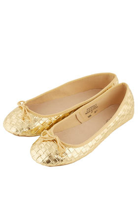 Vee Woven Metallic Ballerina Pumps - predominant colour: gold; occasions: casual, evening, work, holiday; material: faux leather; heel height: flat; toe: round toe; style: ballerinas / pumps; trends: metallics; finish: metallic; pattern: plain; season: s/s 2013