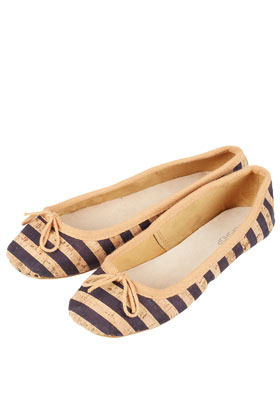 Vip Cork Stripe Ballerinas - predominant colour: navy; occasions: casual, work, holiday; material: faux leather; heel height: flat; toe: round toe; style: ballerinas / pumps; trends: striking stripes; finish: plain; pattern: horizontal stripes; season: s/s 2013