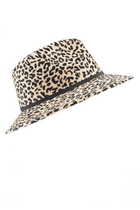 Leopard Fedora - predominant colour: camel; secondary colour: black; occasions: casual; type of pattern: standard; embellishment: ribbon; style: fedora; size: standard; material: fabric; pattern: animal print; season: s/s 2013