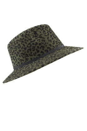 Leopard Fedora - predominant colour: dark green; occasions: casual; type of pattern: heavy; embellishment: ribbon; style: fedora; size: standard; material: fabric; pattern: animal print; season: s/s 2013