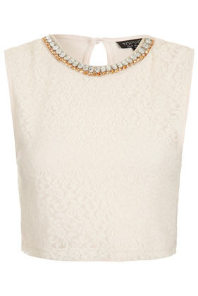 Necklace Lace Crop Top - neckline: round neck; sleeve style: sleeveless; bust detail: added detail/embellishment at bust; length: cropped; predominant colour: ivory/cream; occasions: casual, evening, holiday; style: top; fibres: polyester/polyamide - 100%; fit: straight cut; back detail: keyhole/peephole detail at back; sleeve length: sleeveless; texture group: lace; pattern type: fabric; pattern size: standard; pattern: patterned/print; embellishment: beading; season: s/s 2013