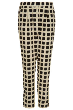 Fuzzy Square Print Trousers - length: standard; pattern: checked/gingham; waist: mid/regular rise; predominant colour: black; occasions: casual, evening, work; fibres: polyester/polyamide - 100%; texture group: crepes; trends: modern geometrics; fit: tapered; pattern type: fabric; style: standard; season: s/s 2013; pattern size: standard (bottom)
